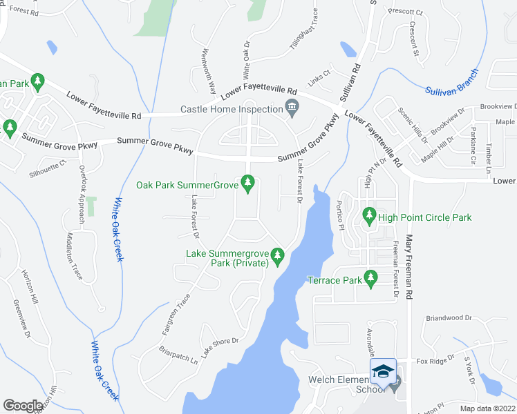 map of restaurants, bars, coffee shops, grocery stores, and more near Oak Park Square in Newnan