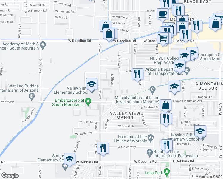 map of restaurants, bars, coffee shops, grocery stores, and more near 416 West Latona Road in Phoenix