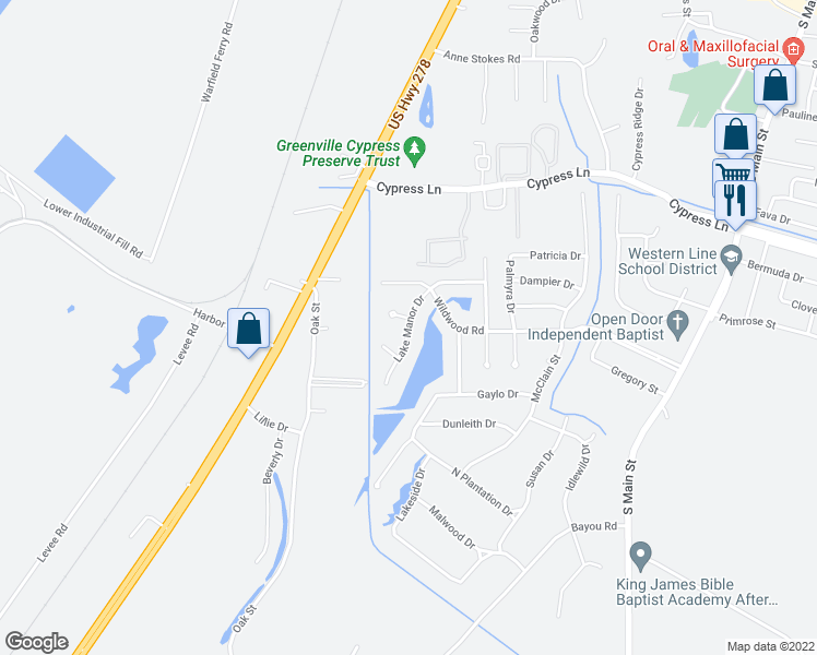 map of restaurants, bars, coffee shops, grocery stores, and more near Lake Manor Drive in Greenville