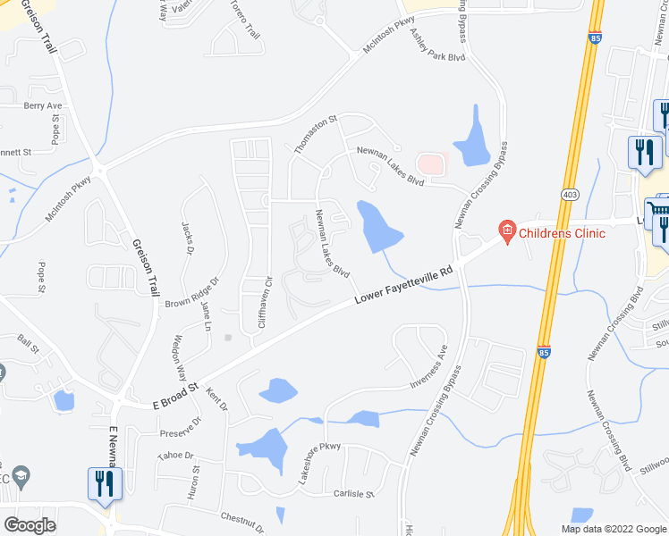 map of restaurants, bars, coffee shops, grocery stores, and more near 25 Newnan Lakes Boulevard in Newnan