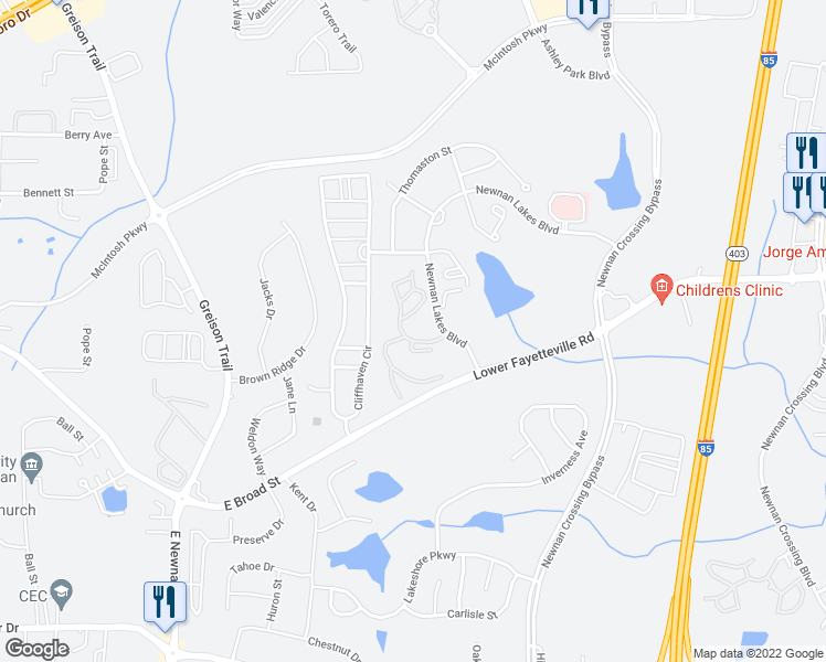 map of restaurants, bars, coffee shops, grocery stores, and more near 80 Newnan Lakes Boulevard in Newnan