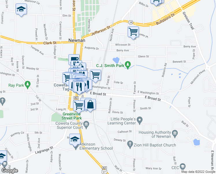 map of restaurants, bars, coffee shops, grocery stores, and more near 73-99 Field Street in Newnan