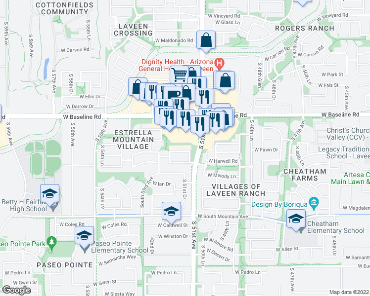 map of restaurants, bars, coffee shops, grocery stores, and more near 5112 West Fawn Drive in Phoenix