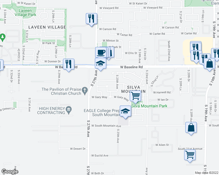 map of restaurants, bars, coffee shops, grocery stores, and more near 2529 West Fawn Drive in Phoenix