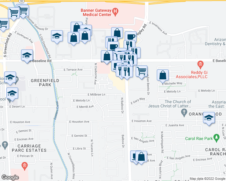 map of restaurants, bars, coffee shops, grocery stores, and more near 1419 North Thunderbird Avenue in Gilbert