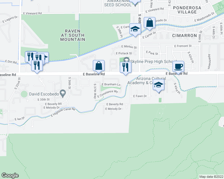 map of restaurants, bars, coffee shops, grocery stores, and more near 3832 East Constance Way in Phoenix