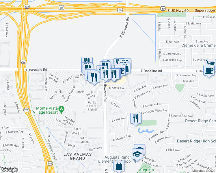map of restaurants, bars, coffee shops, grocery stores, and more near 9200 East Keats Avenue in Mesa