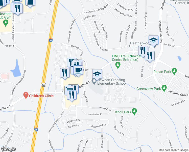map of restaurants, bars, coffee shops, grocery stores, and more near Lower Fayetteville Road in Newnan