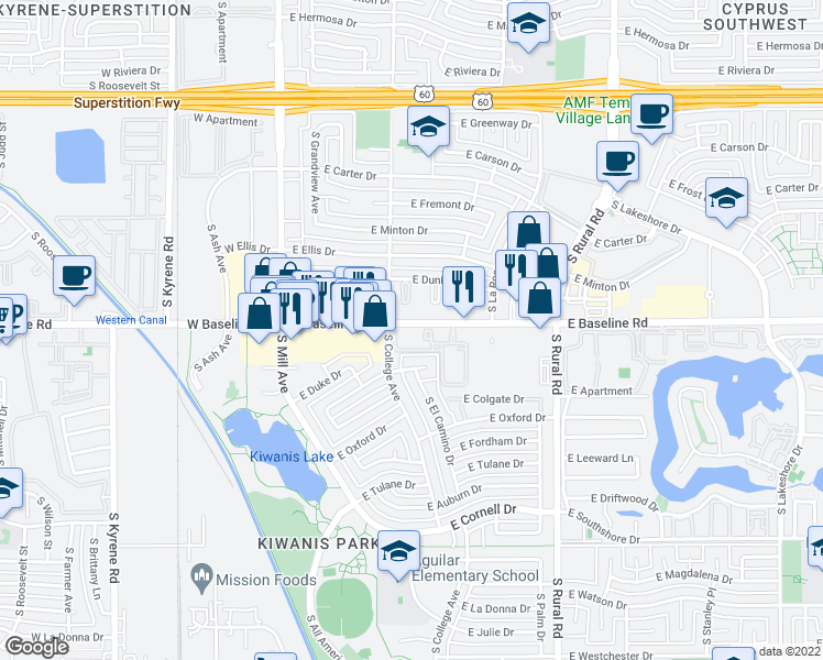 map of restaurants, bars, coffee shops, grocery stores, and more near 577 East Baseline Road in Tempe