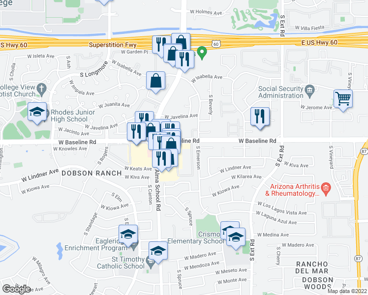 map of restaurants, bars, coffee shops, grocery stores, and more near 1055 West Baseline Road in Mesa