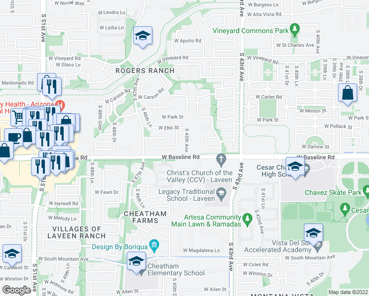 map of restaurants, bars, coffee shops, grocery stores, and more near 7514 South 45th Avenue in Phoenix