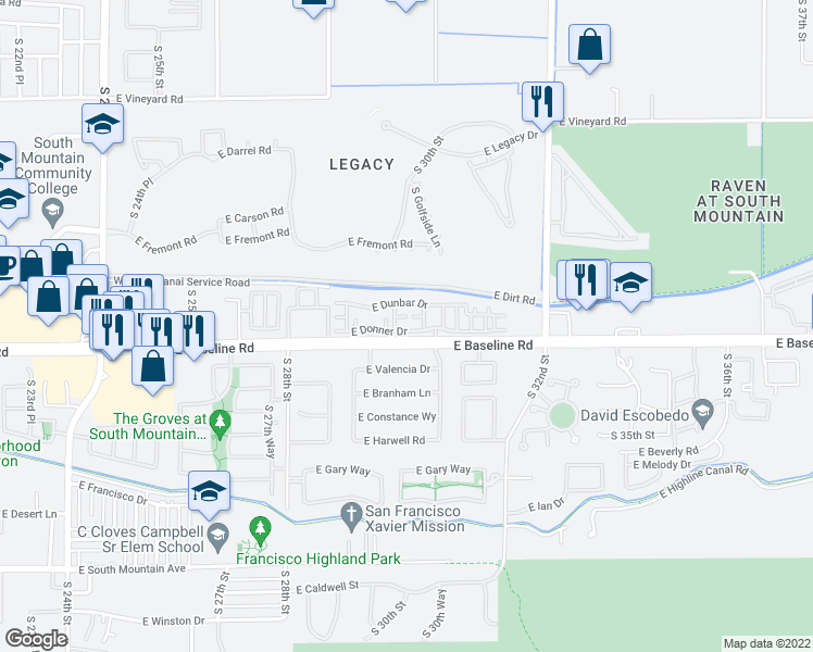 map of restaurants, bars, coffee shops, grocery stores, and more near 2840-2948 East Baseline Road in Phoenix