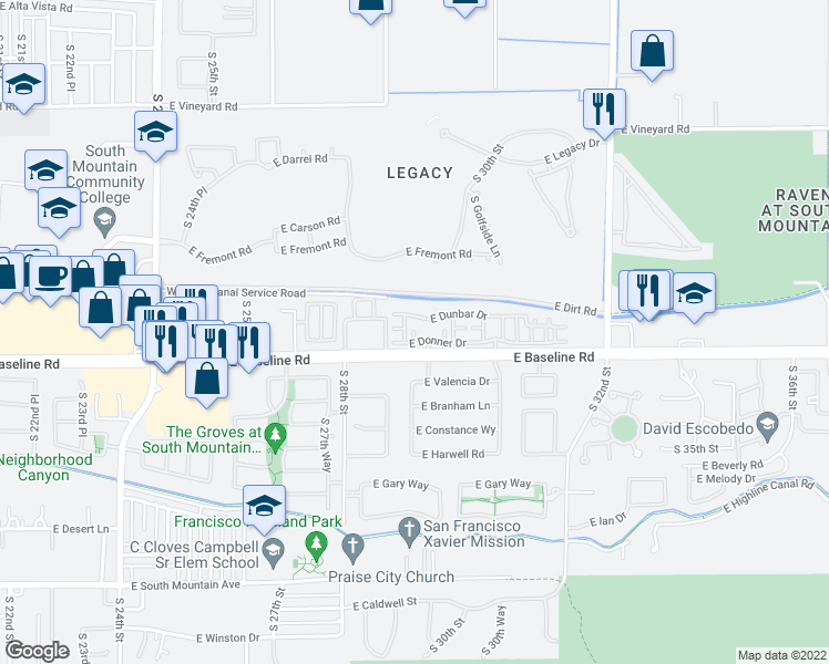 map of restaurants, bars, coffee shops, grocery stores, and more near 2800-2812 East Baseline Road in Phoenix
