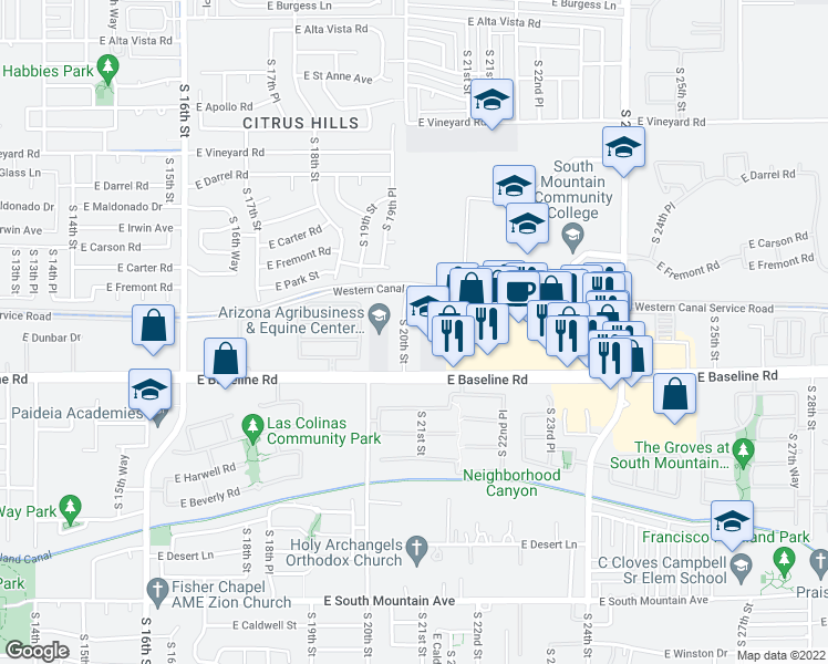 map of restaurants, bars, coffee shops, grocery stores, and more near 7455 S 20th St in Phoenix