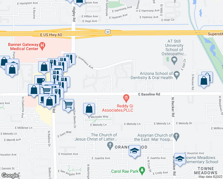 map of restaurants, bars, coffee shops, grocery stores, and more near 1935 South Sunnyvale Road in Mesa
