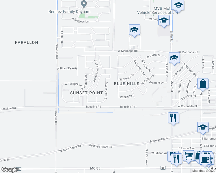map of restaurants, bars, coffee shops, grocery stores, and more near 7227 South Sunrise Way in Buckeye