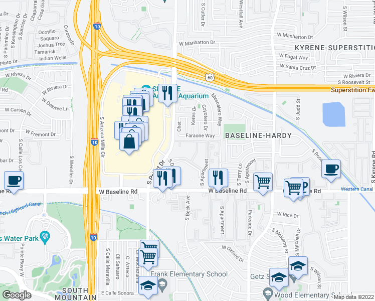 map of restaurants, bars, coffee shops, grocery stores, and more near 4839 South Darrow Drive in Tempe