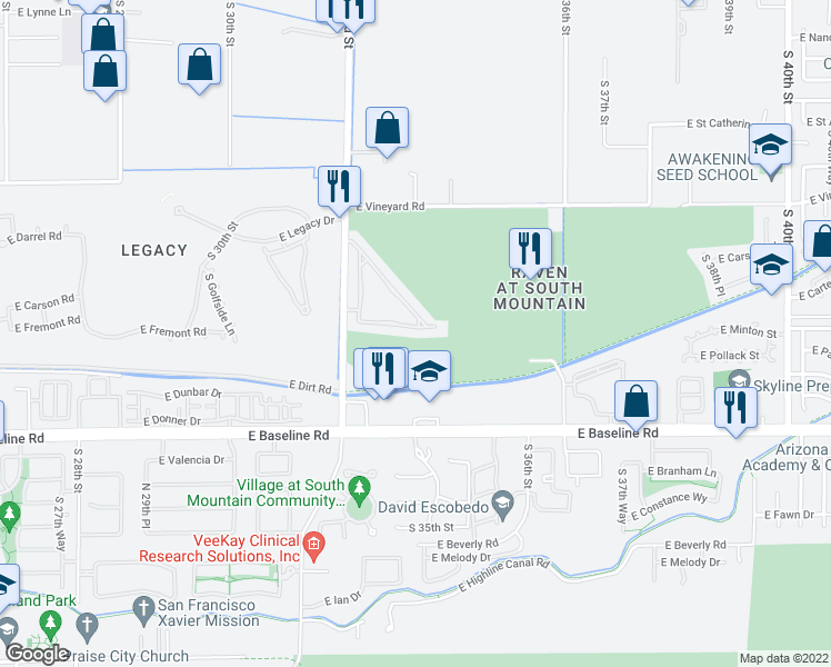 map of restaurants, bars, coffee shops, grocery stores, and more near 3311 East Fremont Road in Phoenix
