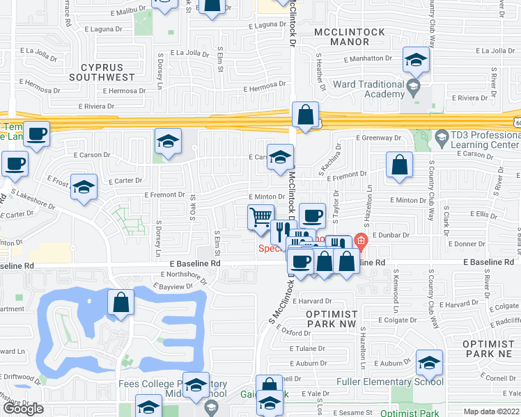 map of restaurants, bars, coffee shops, grocery stores, and more near 4906 South Alder Drive in Tempe