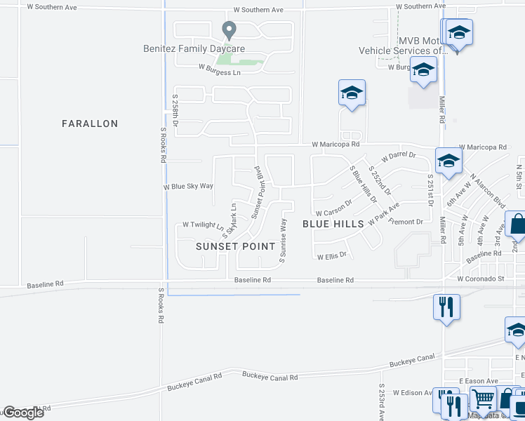 map of restaurants, bars, coffee shops, grocery stores, and more near 7148 South Morning Dew Lane in Buckeye