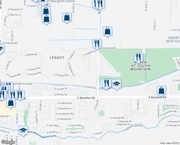 map of restaurants, bars, coffee shops, grocery stores, and more near 3131 East Legacy Drive in Phoenix