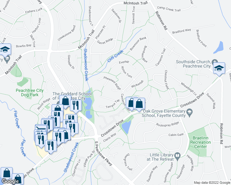 map of restaurants, bars, coffee shops, grocery stores, and more near 105 Dove Point in Peachtree City