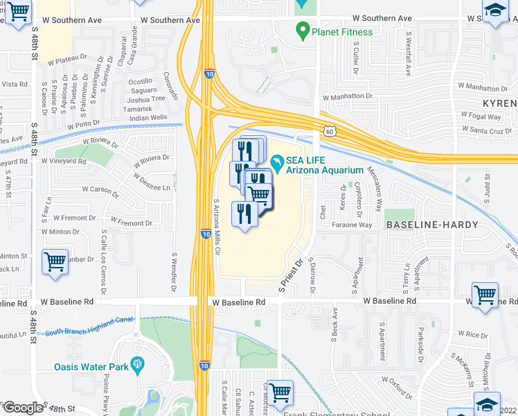 map of restaurants, bars, coffee shops, grocery stores, and more near 5000 South Arizona Mills Circle in Tempe