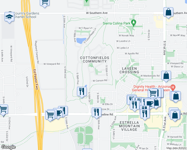 map of restaurants, bars, coffee shops, grocery stores, and more near 7010 South 56th Lane in Phoenix