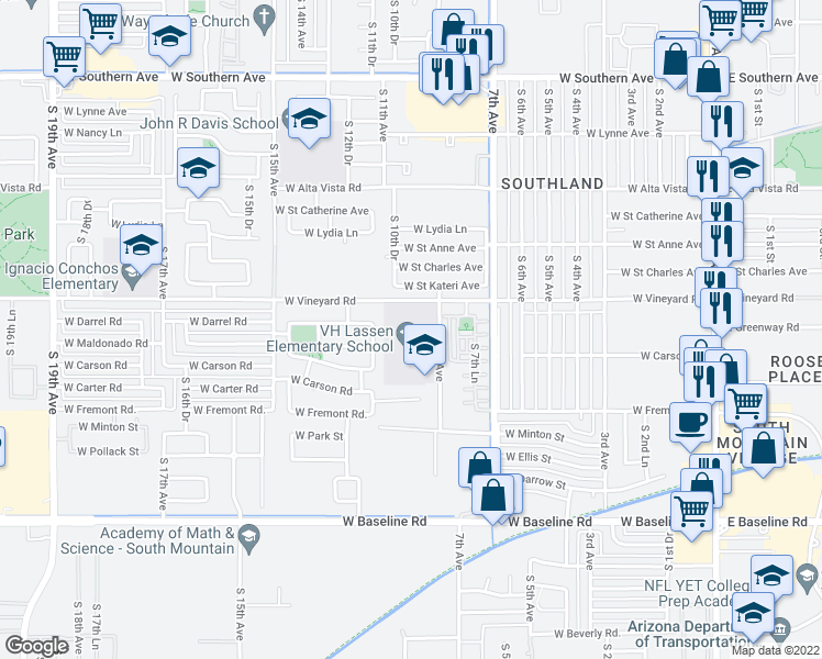 map of restaurants, bars, coffee shops, grocery stores, and more near 6800-7174 South 9th Avenue in Phoenix