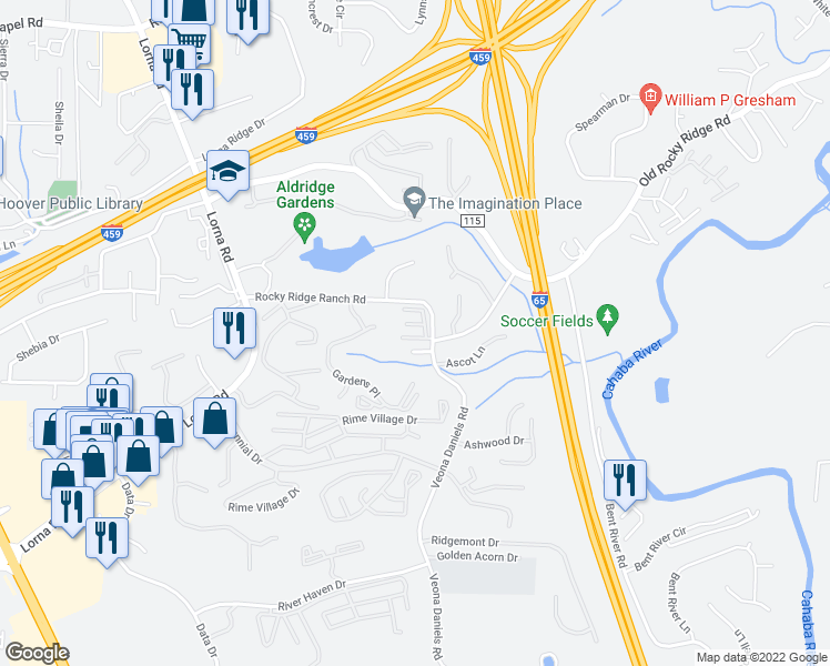 map of restaurants, bars, coffee shops, grocery stores, and more near 207 Wildbrook Lane in Hoover