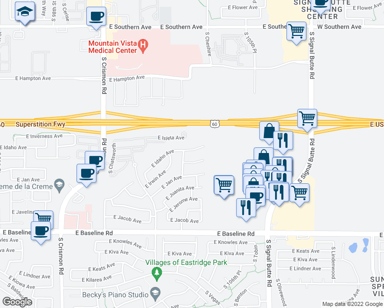 map of restaurants, bars, coffee shops, grocery stores, and more near 10440 East Irwin Circle in Mesa