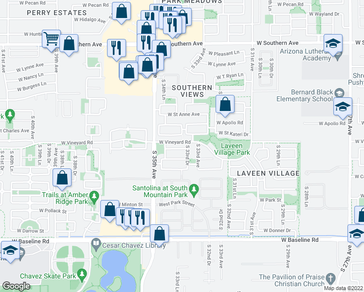 map of restaurants, bars, coffee shops, grocery stores, and more near 3328 West Glass Lane in Phoenix