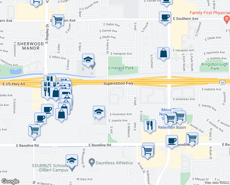 map of restaurants, bars, coffee shops, grocery stores, and more near 1653 South Harris Drive in Mesa
