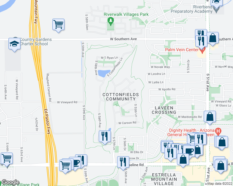 map of restaurants, bars, coffee shops, grocery stores, and more near 6625 South 57th Avenue in Phoenix