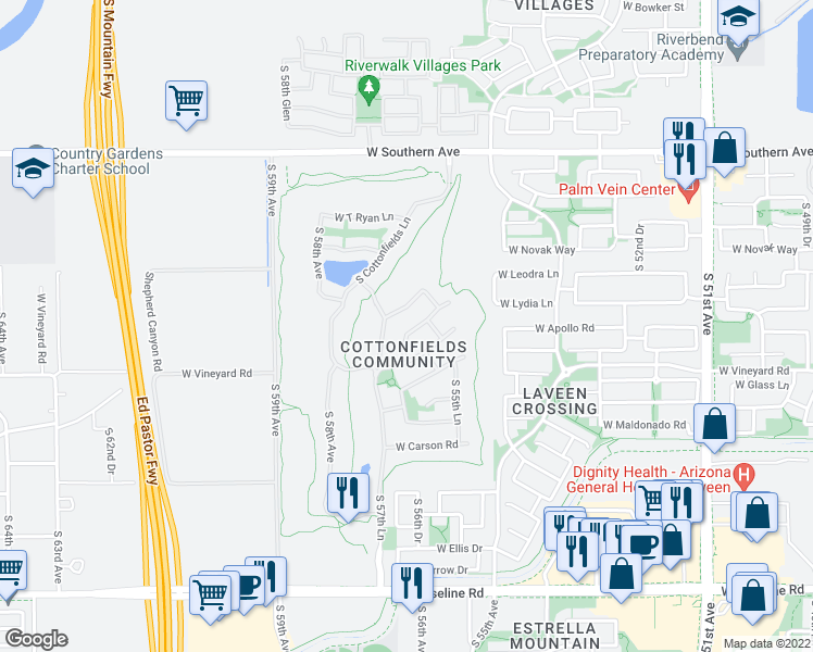 map of restaurants, bars, coffee shops, grocery stores, and more near 5618 West Saint Anne Avenue in Phoenix