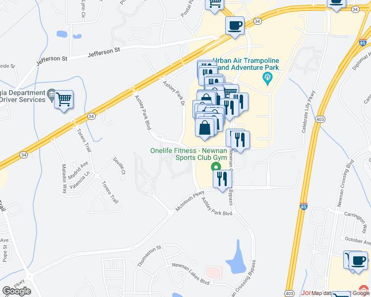 map of restaurants, bars, coffee shops, grocery stores, and more near Ashley Park Boulevard in Newnan