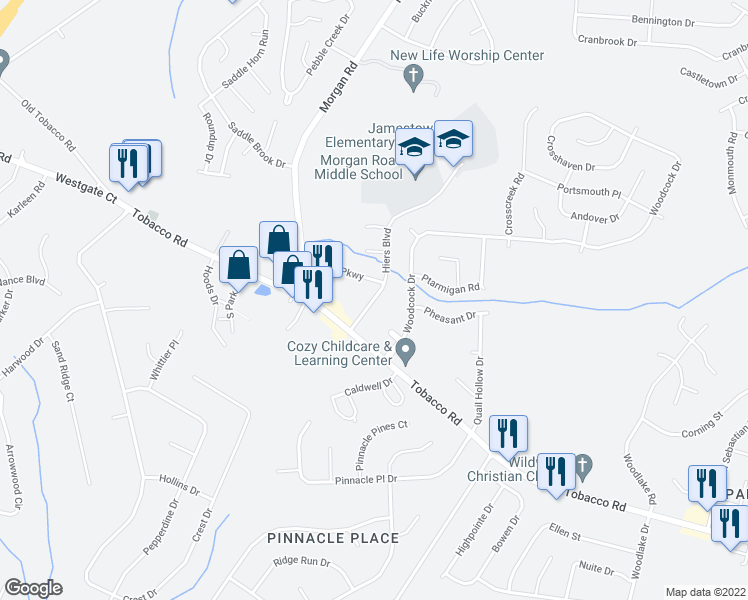 map of restaurants, bars, coffee shops, grocery stores, and more near 3611 Hiers Boulevard in Hephzibah