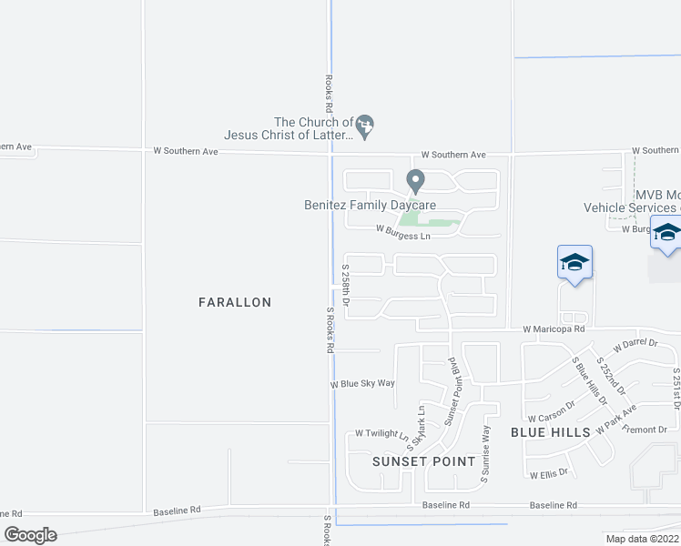 map of restaurants, bars, coffee shops, grocery stores, and more near 6542 South 258th Drive in Buckeye