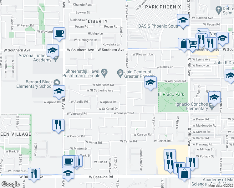 map of restaurants, bars, coffee shops, grocery stores, and more near 6434 South 23rd Drive in Phoenix