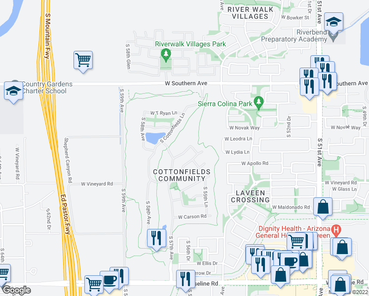 map of restaurants, bars, coffee shops, grocery stores, and more near 5614 West Lydia Lane in Phoenix
