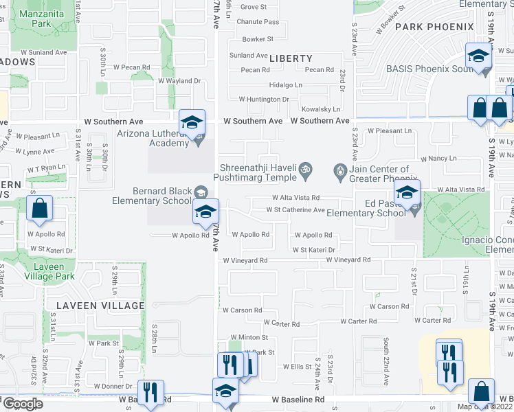 map of restaurants, bars, coffee shops, grocery stores, and more near 2546 West Saint Catherine Avenue in Phoenix