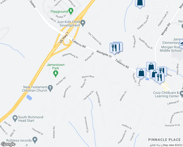 map of restaurants, bars, coffee shops, grocery stores, and more near 3304 Wombles Court in Hephzibah