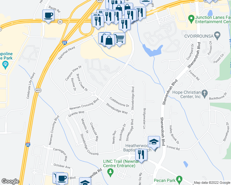 map of restaurants, bars, coffee shops, grocery stores, and more near 32 Stonebridge Pass in Newnan