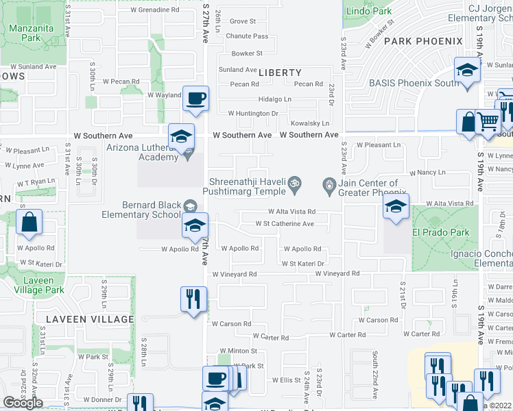 map of restaurants, bars, coffee shops, grocery stores, and more near 2528 West Alta Vista Road in Phoenix