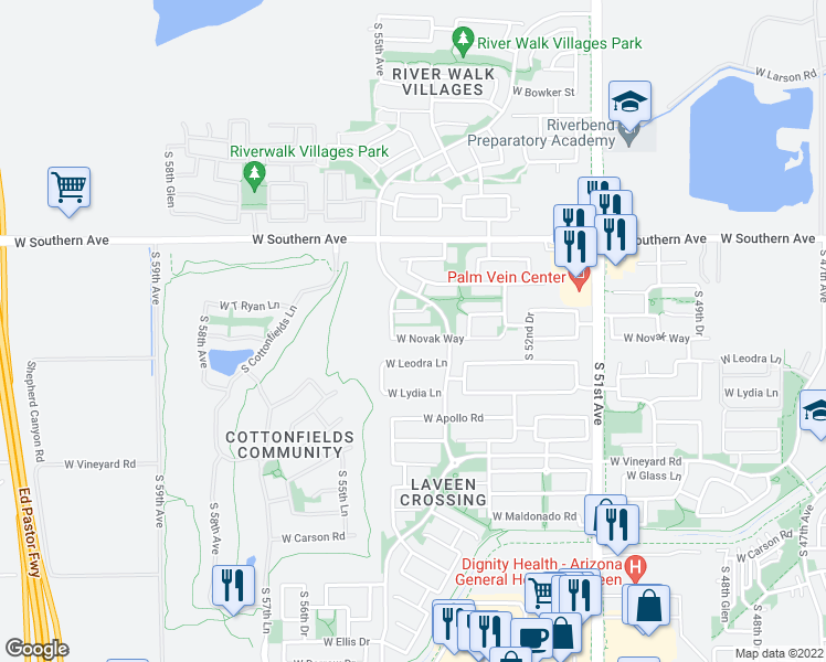 map of restaurants, bars, coffee shops, grocery stores, and more near 5424 West Novak Way in Phoenix