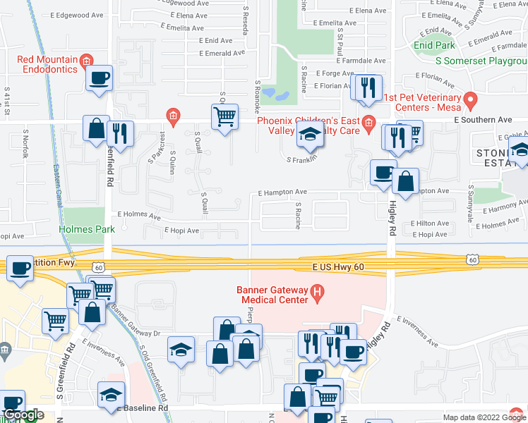 map of restaurants, bars, coffee shops, grocery stores, and more near 4820 East Holmes Avenue in Mesa