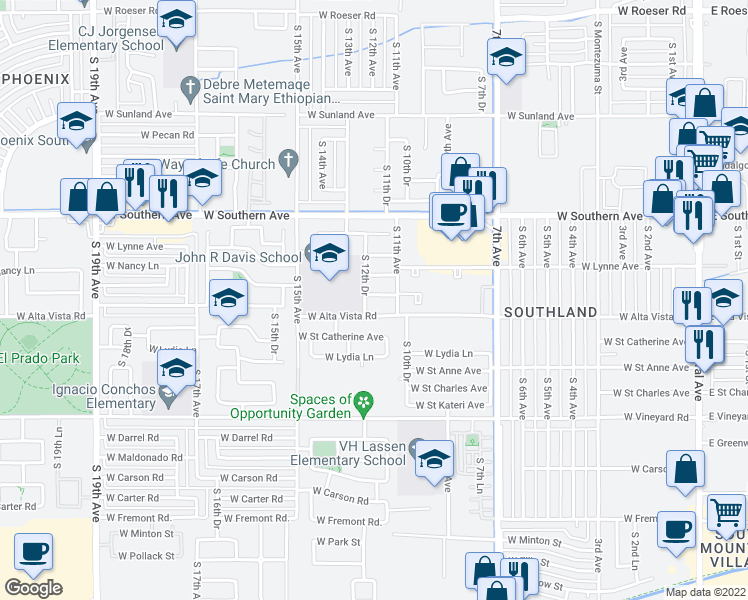 map of restaurants, bars, coffee shops, grocery stores, and more near 1123 West Burgess Lane in Phoenix