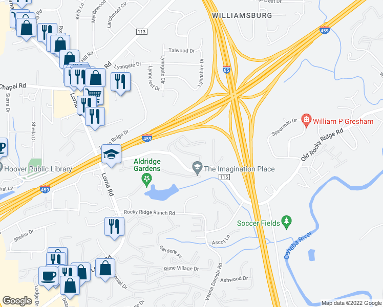 map of restaurants, bars, coffee shops, grocery stores, and more near 1000 Autumn Wood Drive in Birmingham