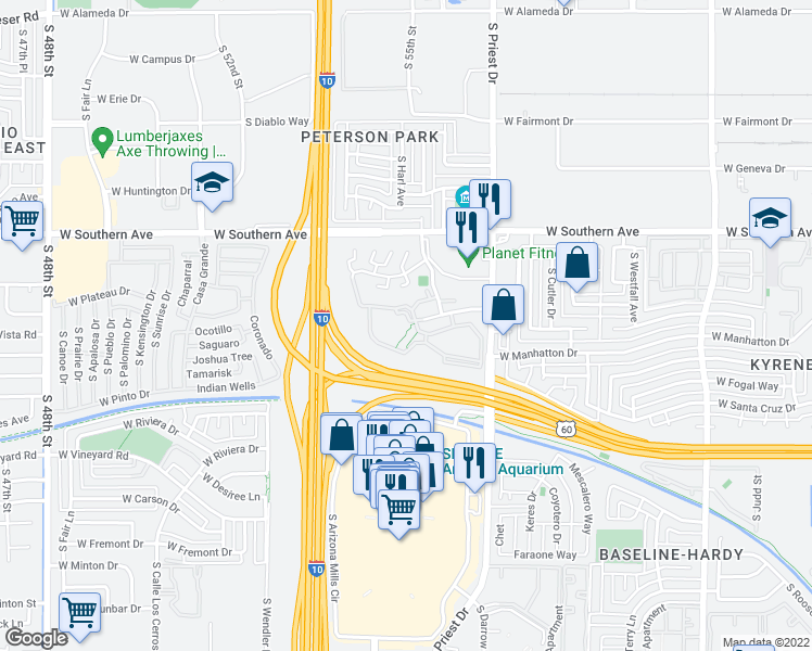 map of restaurants, bars, coffee shops, grocery stores, and more near 1600 West La Jolla Drive in Tempe
