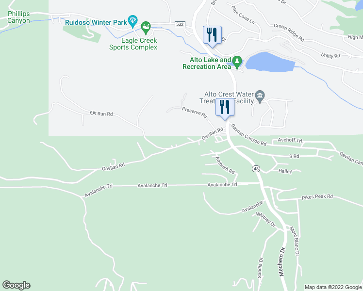 map of restaurants, bars, coffee shops, grocery stores, and more near 202-204 Upper Gavilan Canyon Road in Ruidoso